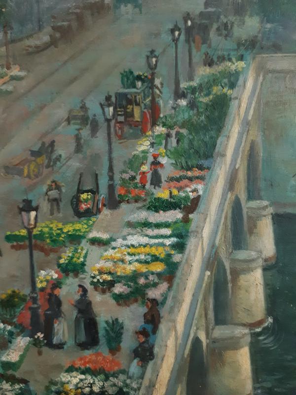 Alfred LE PETIT (1841-1909) Paris Le pont au Change marché aux fleurs huile sur panneau 1904-photo-4