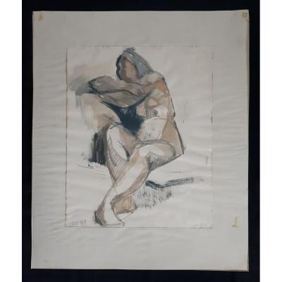 Aquarelle nu féminin assis femme nue 1968 (signé)