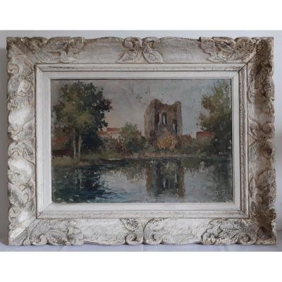 Guilbert Oil On Panel Lake Landscape Impressionism Early XXth Frame Montparnasse