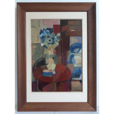 Oil Painting On Panel Louis Raibaud Still Life Cubism 1942