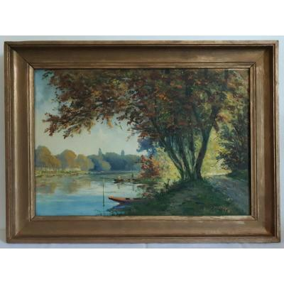 R. HENRY tableau huile paysage bords de Marne Saint-Maur Champigny fin 19ème début 20ème