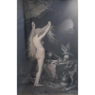 """Charles Edouard DE BEAUMONT """"LA TENTATION"""" gravure symboliste XIXème 1876 Goupil &Cie"""