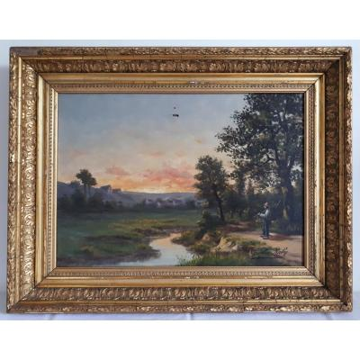 Charles Raby Oil Landscape At Twilight XIXth Frame Barbizon Wood Gilded Stucco 8p Format