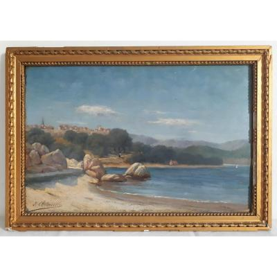 Jules Marie Chedeville Oil On Panel 19th Seascape Seaside