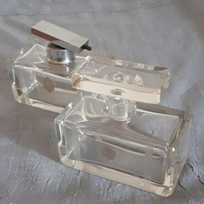 Bohemian Crystal Perfume Bottle And Sprayer Geometric Decor 1930 Art Deco