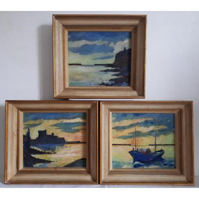Manechko Three Oils On Panel Seascapes  Mid-20th Century