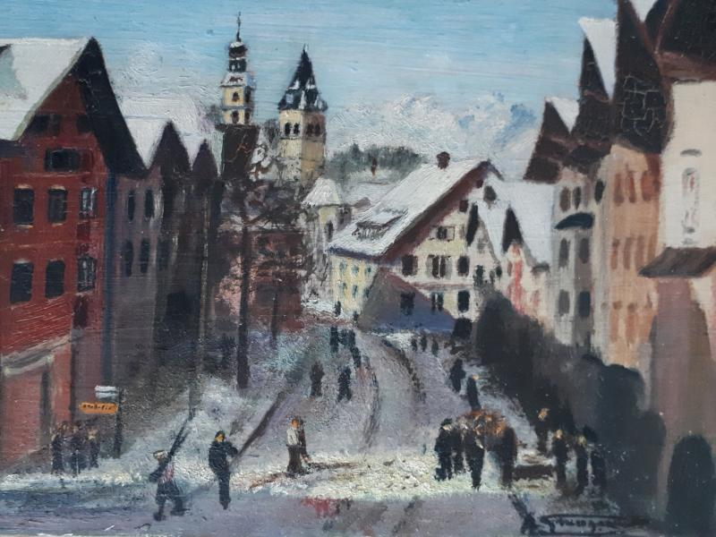 Painting Oil On Wood Lively Street Mountain Winter Landscape Early 20th (signed)-photo-2