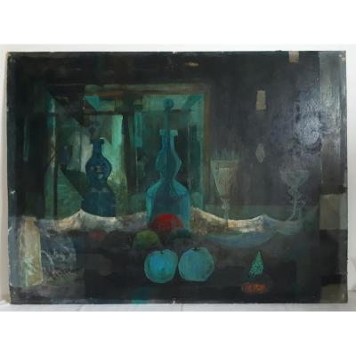 Gouache On Panel Still Life Bottles Fruits Cubism 1950-1960