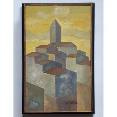 "Quintino BASSANI 1928-2007 huile sur toile ""Ville d'Istrie"" Croatie ""Istarski gradic"" Hrvatska"
