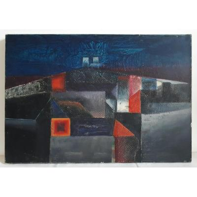Oil On Canvas Abstract Composition 1960-1970