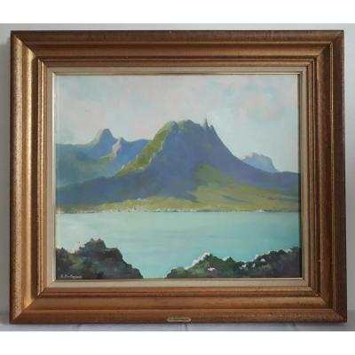 Henri Montagneux Oil On Canvas Landscape Lake Mountains Mid 20th