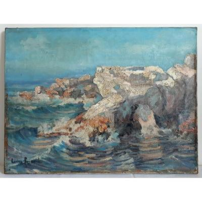 Lucien Reinard (1913-1986) Oil On Canvas Marine Rocky Coast
