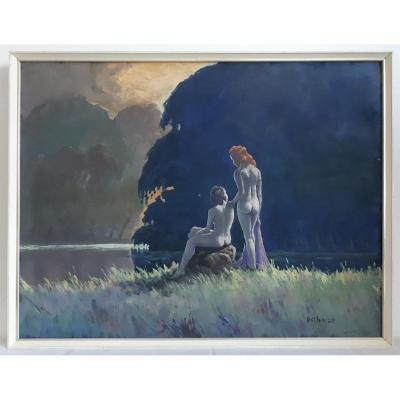 Roland Delbosco (born In 1926) Oil On Panel Women By The River