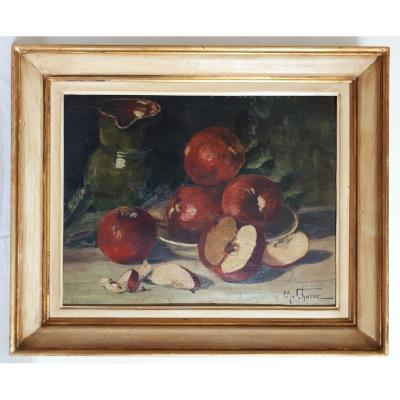 Oil On Wood Still Life With Apples M. Charve First Half Of The 20th Century
