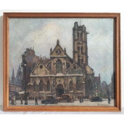 Emile Dancre (1901-1977) Oil On Canvas Paris Animated View Saint Nicolas Des Champs Church 1930