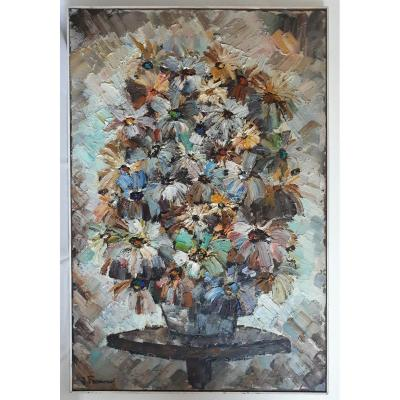 Jacques Fromonot (1926-2014) Oil On Panel Still Life Bouquet Of Flowers 1960 Mid 20th Century
