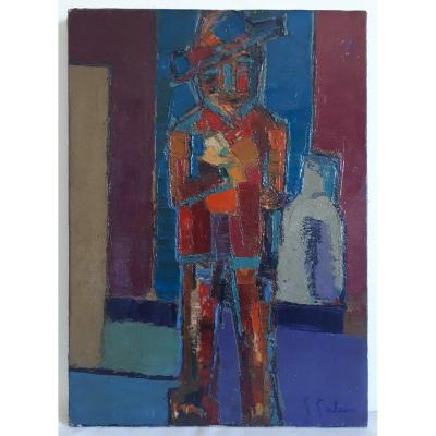 Painting Oil On Canvas Galard Man With Hat Post-cubism 1940-1950