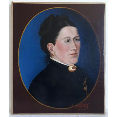 Painting Oil On Canvas Portrait Of A Woman A. Brenot 19th Naive Painting