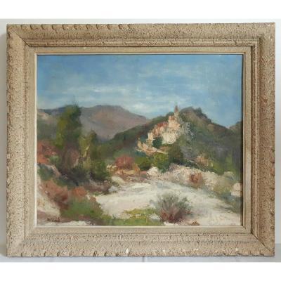 """Auguste APELLE huile sur toile """"Vue de Contes et du Paillon"""" Alpes-Maritimes 1ère moitié 20ème"""