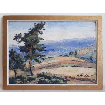 Painting Oil On Hardboard A. Richaud Hilly Landscape 1st Half 20th Century
