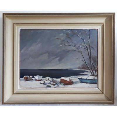 Marcel Deschenaux (1910-1990) Oil On Panel Winter Lake Landscape 1944
