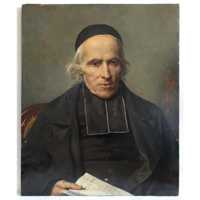 Louis Charles Auguste Couder (1789-1873) Oil On Canvas Ecclesiastical Portrait 1853 19th