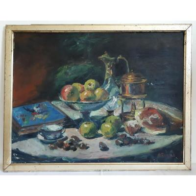 Oil On Panel Still Life With Ham And Apples A. Donat Early 20th Century