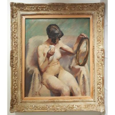Oil On Canvas Woman At Her Toilet Female Nude 1st Half 20th Frame Montparnasse