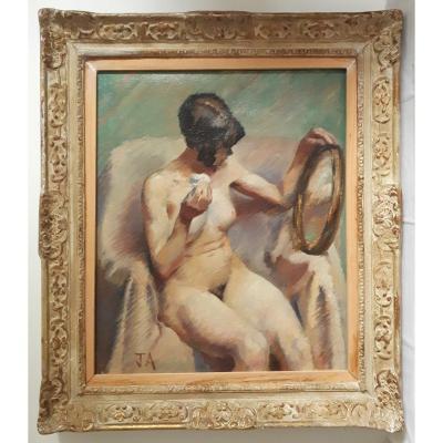 Huile sur toile femme à sa toilette nu féminin 1ère moitié 20ème cadre Montparnasse