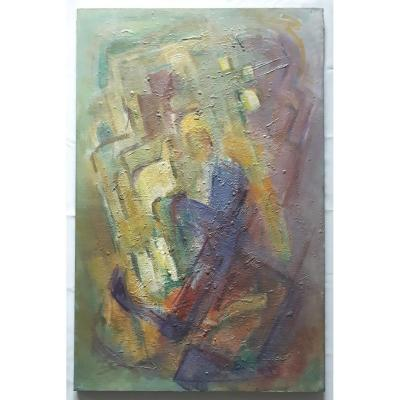 Painting Oil On Canvas Abstract Composition 1950 - 1960