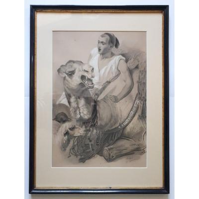 Fusain dessin orientaliste orientalisme CHEVALLET homme et chameau couché 19ème
