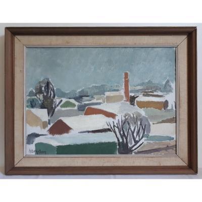 Painting Oil On Canvas Snowy Landscape H. Bengtsson 1950 - 1960