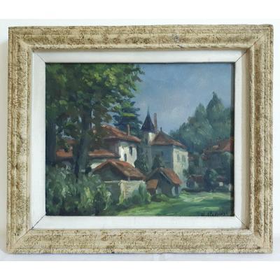 Painting Oil On Canvas Countryside Landscape Village St. Studzinski  1st Half 20th Century
