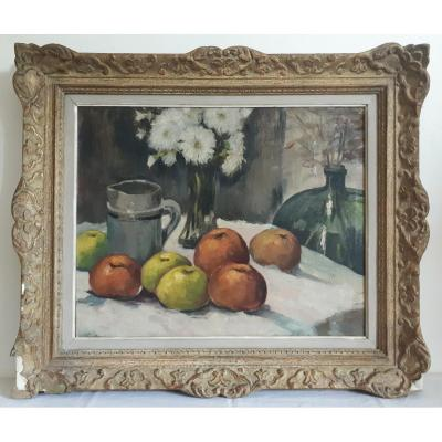 Oil On Canvas Still Life With Fruits Flowers Augustin De Boeck Belgian School 1st Half Of The 20th Century