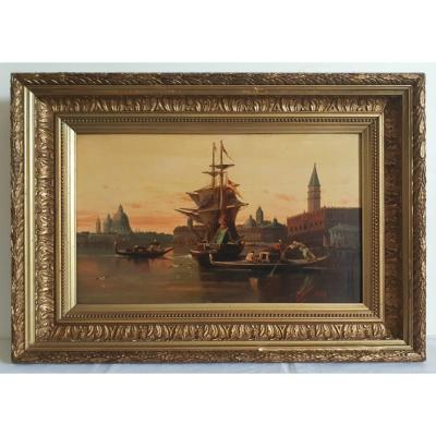 View Of Venice Painting Oil On Canvas 19th Dated 1884 Signed