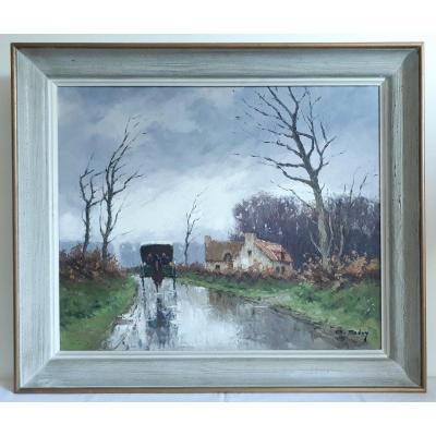 """Olivier SERY (1906-2000) huile sur toile paysage calèche """"Automne en Normandie"""" Bretagne"""