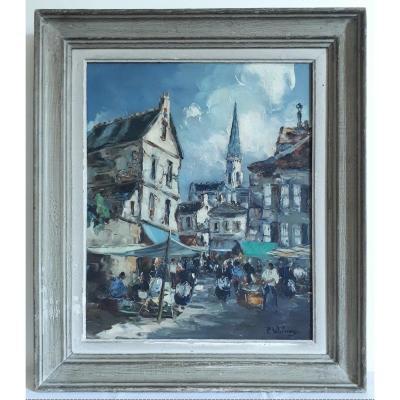 Pierre WILNAY huile sur toile scène de marché Bretagne milieu XXème