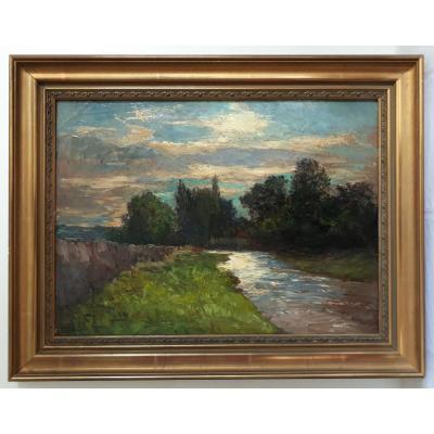 Joseph TREVOUX (1831-1909) huile sur toile paysage rivière environs de Lyon 19ème