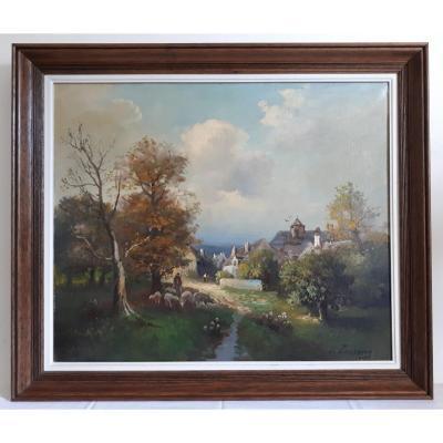 Tableau huile sur toile paysage scène de vie paysanne J. TASSERIE fin 19ème