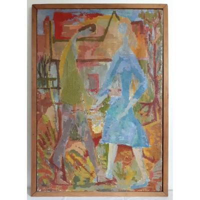 Michel COUCHAT (1935-1998) huile sur toile personnages couple 1955