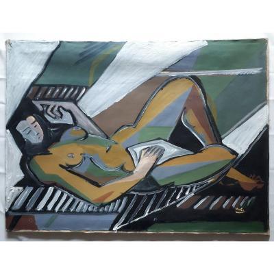 Marceau CONSTANTIN (1918-2017) huile sur toile nu allongé 1955 post-cubisme