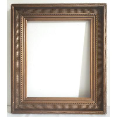 Cadre à canaux bois doré 19ème format 8F pour tableau 46 X 38 cm