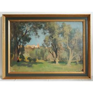 Emile WEGELIN (1875-1962) huile sur panneau paysage vue de La Gaude environs de Nice 1938