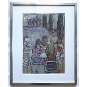 Maurice LEWI (né en 1934) huile sur papier  vue animée bar café - La terrasse cet été