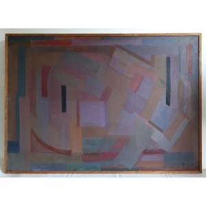 Tableau huile sur toile composition géométrique art abstrait E. MEYER 1969