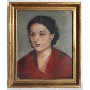 Huile sur panneau BORREMANS portrait jeune femme première moitié XXème siècle