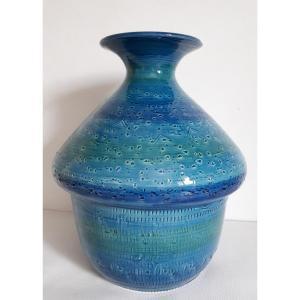 Vase céramique Rimini Blu par Aldo LONDI pour BITOSSI 1960