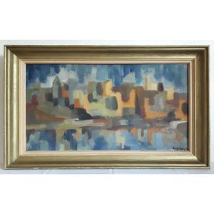 Tableau huile sur panneau paysage lacustre abstrait années 1950 signé