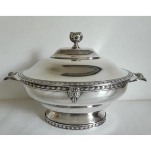 Roux-marquiand Silversmith Vegetable Soup Tureen In Silver Metal Louis XVI Style