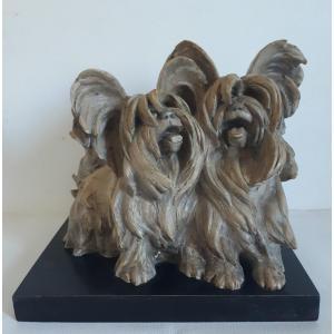 Guido CACCIAPUOTI (1892-1953) Italie sculpture animalière en terre cuite chiens